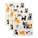 DII Swedish Dishcloths, 100% Natural Cellulose, Set of 3, Reusable, Dishwasher and Microwave Safe, Environmentally Friendly Dish Cloths, 7.75x6.75, Cats Everywhere, 3