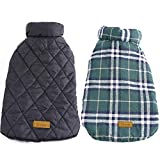 Kuoser Dog Coats Dog Jackets Waterproof Coats for Dogs Windproof Cold Weather Coats Small Medium Large Dog Clothes Reversible British Plaid Dog Sweaters Pets Apparel Winter Vest for Dog Green XL