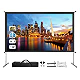 Projector Screen with Stand, 135' 4K HD Outdoor/Indoor Portable Projector Screen 16:10 Foldable Movie Projection Screen with Carry Bag for Home Theater Camping Gaming Backyard Movie