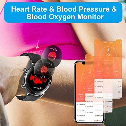 Smart Watch, LCW Fitness Tracker Watch with Heart Rate Blood Pressure Monitor, Blood Oxygen Meter, Body Temperature Measurement, Step Counter, Sleep Tracker, IP67 Waterproof Smartwatch for Men Women 3