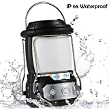 Camping Lantern, 5200mAh Power Bank, Dimmable 3 Light Modes, IP65 Waterproof, USB Rechargeable Batteries Operated, Perfect for Hurricane Emergency,Hiking