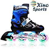 XinoSports Inline Roller Skates with Light Up Illuminating Wheels, for Growing Girls and Boys Ages 5-20 ...