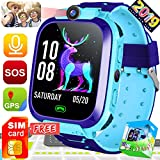 SIM Card Included Kids Phone Smart Watch Boys Girls 2019 New 1.44' HD Touch GPS Tracker Wrist Watch with 2 Way Call Camera Puzzle Games SOS Fitness Tracker Alarm Birthday Gift Outdoor Activities Toy