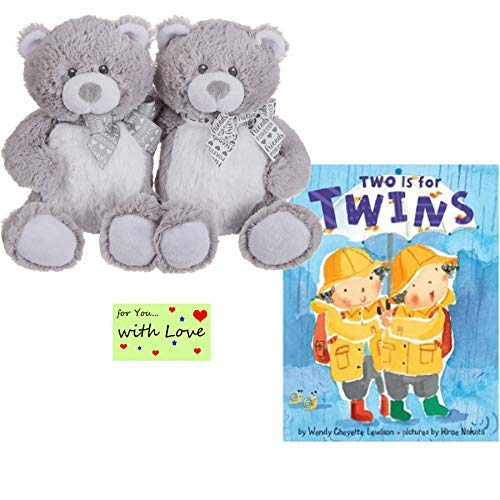 Gender Neutral Twin Teddy Bears and Book Two is for Twins for Baby Shower, Birthday, or Holiday Present w/Gift Tag