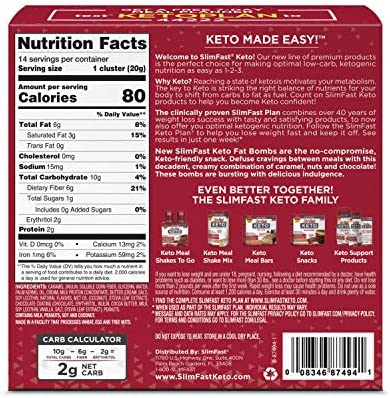 SlimFast Keto Fat Bomb Snacks - Chocolate Caramel Nut Clusters - 14 Count Box - Pack of 4 - Pantry Friendly 2
