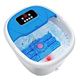 Foot Spa/Bath Massager with Bubbles and Lights, Turejo Foot Bath Massager with Automatic Massaging Rollers, Relieve Foot Pressure with 6 in 1 Function