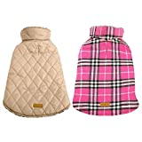 Kuoser Dog Coats Dog Jackets Waterproof Coats for Dogs Windproof Cold Weather Coats Small Medium Large Dog Clothes Reversible British Style Plaid Dog Sweaters Pets Apparel Winter Vest for Dog Pink L