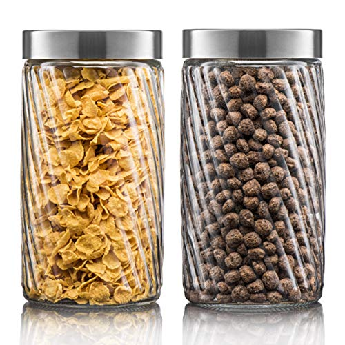 Klikel Glass Canister | Set of 2 Kitchen Containers With Lids | Tight Seal For Flour Sugar Pasta Cereal | Capacity 37oz / 1100ml 4.25'x6.5'h.