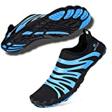 hiitave Men Water Shoes Beach Aqua Socks Quick Dry for Outdoor Sport Hiking Swiming Surfing Black/Blue 12 M US Men
