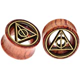 Deathly Hallows Organic Wood Flesh Tunnels Double Flared Ear Stretcher Saddle Plugs Gauge 12mm 1/2'