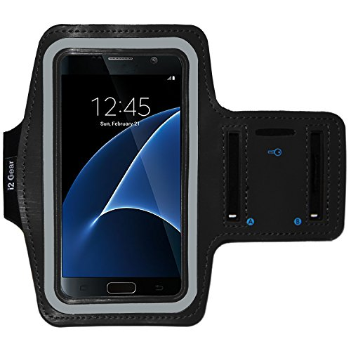 Galaxy S9, S7 and Google Pixel 2 Running & Exercise Armband with Key Holder & Reflective Band (Black)