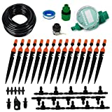 Auto Drip Irrigation System, 1/4' Blank Distribution Tubing Watering Drip Kit with Timer 2-Types Plant Irrigation Kit Garden Irrigation System Micro Irrigation for Flower, Lawn, Plants,50 FT