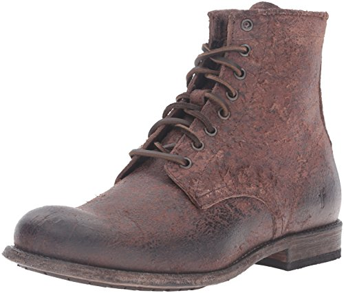 5134eer5WWL Distressed combat boot featuring plain toe and rawhide lacing Low stacked heel