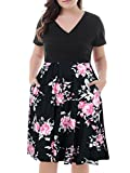 Product review of Nemidor Women's V-Neck Print Pattern Casual Work Stretchy Plus Size Swing Dress with Pocket
