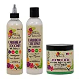 Alikay Naturals Caribbean Coconut Milk Shampoo + Conditioner + Avocado Cream Moisture Repairing Mask 8oz 'Set'