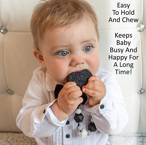 Teething Toys for Babies - BPA Free Silicone - Cute and Highly Effective Cookie Teether with Pacifier Clip - Teethers Toy Best for 0-6 6-12 Months Stylish Baby Boy or Girl Valentine Gifts 6