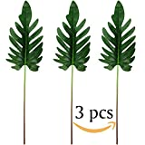 "Supla 3 Pcs Artificial Tropical Leaf Artificial Philodendron Leaf Spray Tropical leaf Split Philodendron Leaf in Green 23.6"" Tall Tropical Decor Floral Arrangement"