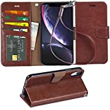 Arae Wallet Case for iPhone xr 2018 PU Leather flip case Cover [Stand Feature] with Wrist Strap and [4-Slots] ID&Credit Cards Pocket for iPhone Xr 6.1' (Brown)