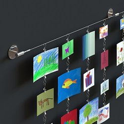Hanging Wall Display Steel Wire Rod Set For Kids Arts Projects Crafts Organizer with Clips