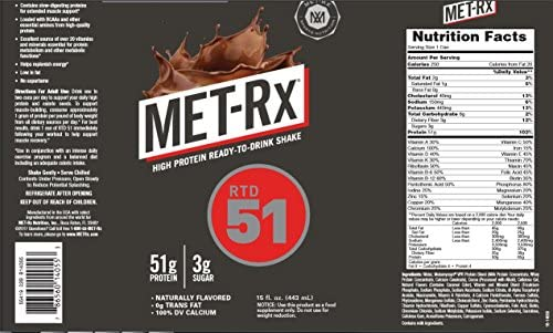 MET-Rx Ready to Drink Protein Shake, Keto Diet Friendly, Snack, Gluten Free, 51g of Protein, With Vitamin A, Vitamin D, and Zinc to Support Immune Health, Frosty Chocolate, 15oz, Pack of 12 2
