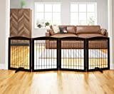 PAWLAND 96-inch Extra Wide Dog gate for The House, Doorway, Stairs, Freestanding Foldable Wire Pet Gate, Pet Puppy Safety Fence | Set of Support Feet Included (Espresso, 30' Height-4 Panels)