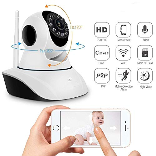 513FaE1q0NL V380 Pro Wireless Home and Office Ultra HD 720P IP CCTV Security Camera with WiFi Wireless Connectivity, 2 Way Audio and Support 64Gb Sd Card - (White)