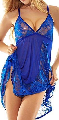 Women's Lace Babydoll Lingerie Set(M,Blue)