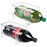 mDesign Large Stackable Kitchen Bin Storage Organizer Rack for Pop/Soda Bottles for Refrigerator, Pantry, Countertops and Cabinets - Holds 2-Liter Bottles - BPA Free, 2 Pack - Clear