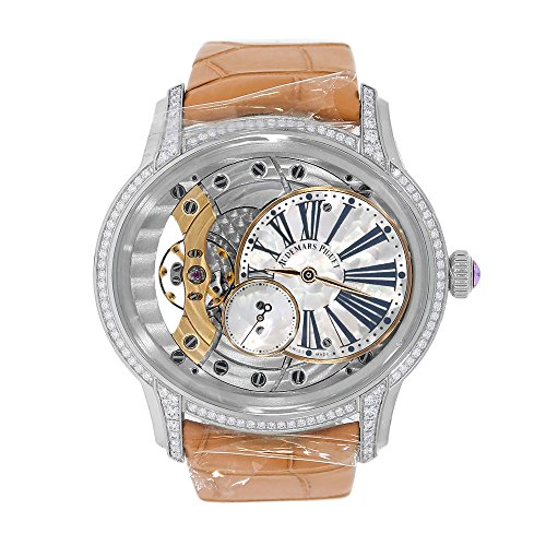39.5mm 18K white gold case, 9.8mm thick, glareproof sapphire crystal back, diamond-set end pieces, diamond-set bezel 116 brilliant-cut diamonds ~0.60 carats (bezel, lugs), glareproofed sapphire crystal, crown set with a pink cabochon sapphire, white mother-of-pearl off-centred disc and small seconds counter, anthracite printed Roman numerals, pink gold hands. Calibre 5201 hand-wound movement with hours, minutes, small seconds, approximately 54 hours of power reserve, large square scale orange alligator strap with 18K white gold pin buckle. Water resistant to 20 meters. Complete with Audemars Piguet box and papers
