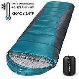 Bessport Sleeping Bag Winter | 32℉/0℃ Extreme 3-4 Season Warm & Cool Weather Adult Sleeping Bags Large | Lightweight, Waterproof for Camping, Backpacking, Hiking (Blue&Grey)