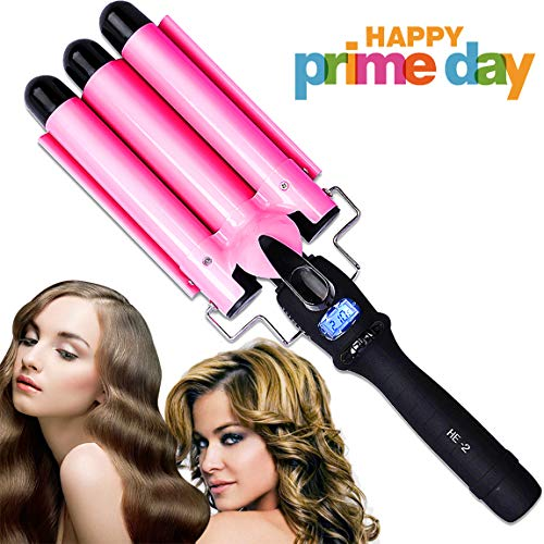 PrettyQueen 3 Barrel Curling Iron 1 Inch Waver Iron Wand Fast Heating with LCD Temperature