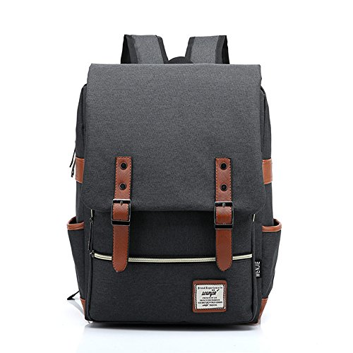 UGRACE Slim Business Laptop Backpack Elegant Casual Daypacks Outdoor Sports Rucksack School Shoulder Bag for Men Women, Tear Resistant Simple Stylish Travelling Backpack in Black