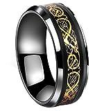 Tanyoyo Black Celtic Dragon Titanium steel Carbide Ring Gold Carbon Fibre Wedding Band Jewelry Size 5-14 (10)