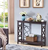 Product review for Espresso Finish 2-Tier Quatrefoil Design Occasional Console Sofa Table Bookshelf