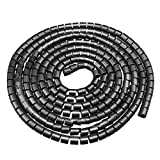 uxcell 10mm Flexible Spiral Tube Cable Wire Wrap Computer Manage Cord Black 3Meter