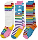 Jefferies Socks Girls' Little Colorful Rainbow Knee High Socks 3 Pair Pack, Medium