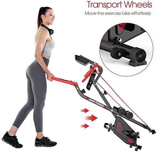 pooboo Folding Exercise Bike Indoor Cycling Bike Magnetic Upright Bike Stationary Bike with Dumbbells,Arm Resistance Bands,Pulse Sensor,LCD Monitor 9