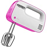 Vremi 3-Speed Compact Hand Mixer with Clever Built-In Beater Storage - Pink / White