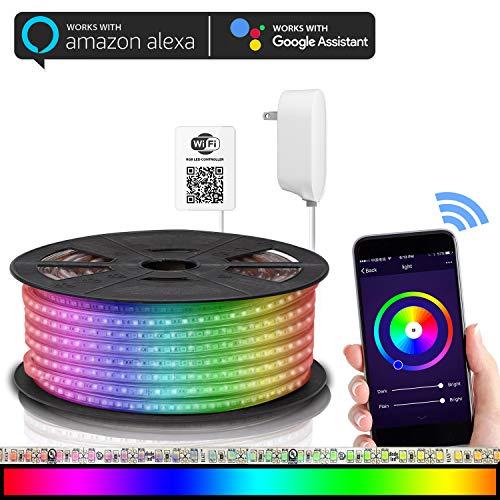 Maxonar - Tira de luces LED compatible con Alexa, WiFi LED, Kit de tira de luz con RGB multicolor,...