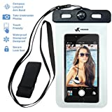 Voxkin Premium Quality Universal Waterproof Case Including Armband  Compass  Lanyard - Best Water Proof, Dustproof, Snowproof Bag for iPhone 6S, 6, 6 Plus, 5, Galaxy S6 S5 Note 4 or Any Phone