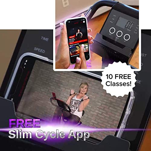 Original As Seen On TV Slim Cycle Stationary Bike - Folding Indoor Exercise Bike with Arm Resistance Bands and Heart Monitor - Perfect Home Exercise Machine for Cardio 4
