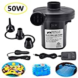 WALLE Electric Air Pump for Inflatables, Portable Quick-Fill Air Pump with 3 Nozzles for Air Mattresses Beds Boats Swimming Ring Inflatable Pool Toys 110 V AC/12V DC (50W)