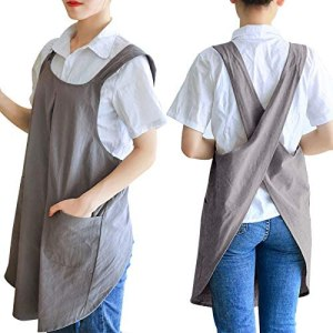 Zakicol Women's Cross Back Apron Baking Gardening Cleaning Works Cotton/Linen Blend Apron with 2 Pockets