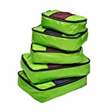 TravelWise Packing Cube System - Durable 5 Piece Weekender+ Set (Lime Green)