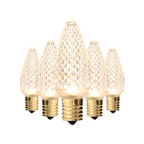 Holiday Lighting Outlet Faceted C9 Christmas Lights   Sun Warm White LED Light Bulbs Holiday Decoration   Warm Christmas Decor For Indoor & Outdoor Use   3 SMD LEDs in Each Light Bulb   Set of 25