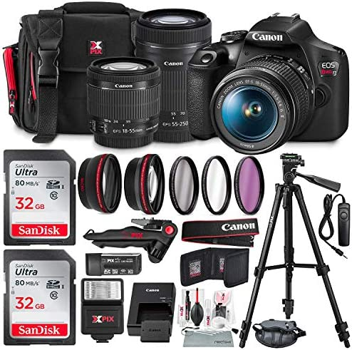 Canon T7 EOS Rebel DSLR Camera with EF-S 18-55mm f/3.5-5.6 is II and 55-250mm f4-5.6 is STM Lenses + UV Filter Kit & 32GB Dual SD Card Bundle (USA Warranty)