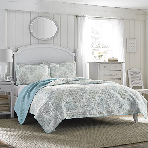 Laura Ashley Reversible Quilt Set King Saltwater Blue