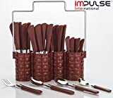 Impulse International Impulse Trendy Emperor Cutlery Set - Spoon Set - Spoon Stand - 25-Pieces - Brown
