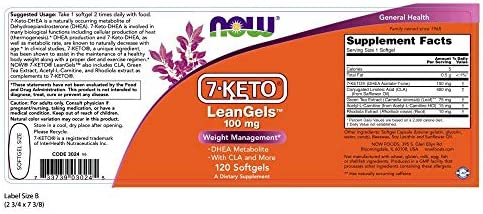 NOW Supplements, 7-Keto LeanGels 100 mg  with CLA, Green Tea Extract, Acetyl-L-Carnitine and Rhodiola Extract, 120 Softgels 4