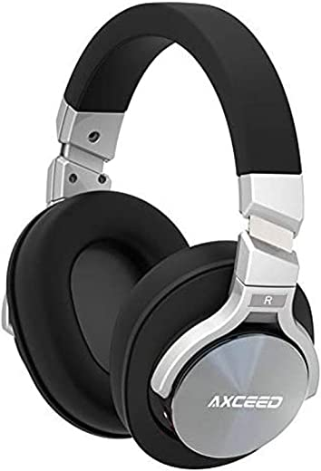COSROLE Active Noise Cancelling Headphone, Bluetooth 4.1 Hi-Fi Deep Bass Wireless Over Ear Headset with Microphone & Detachable Cable for Travel Work TV Computer iPhone Android Black